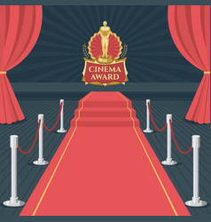 red carpet of cinema award event red carpet stage vector image