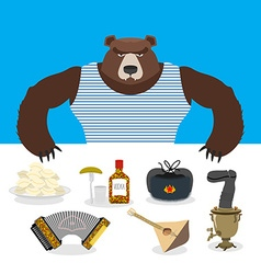 Russian Bear sells souvenirs Russian traditional vector