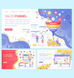 Sales funnel attracting customers web conversion vector