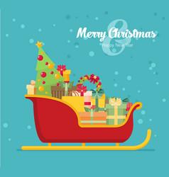 Santa sleigh with piles of presents vector
