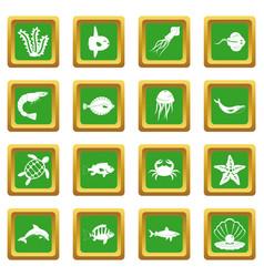 Sea animals icons set green vector