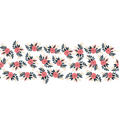 seamless border flat rose flowers pink vector image