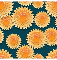 seamless pattern with big orange flowers vector image