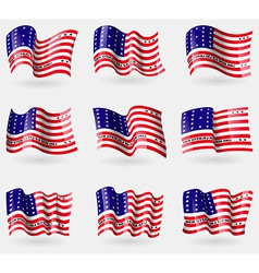Set of Bikini Atoll flags in the air vector