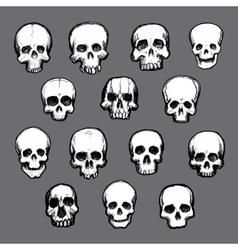 Set of hand drawn skulls vector