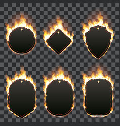 set of six frames surrounded with flame vector image