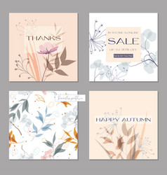 set trendy abstract square art templates vector image