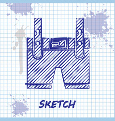 Sketch line lederhosen icon isolated on white vector