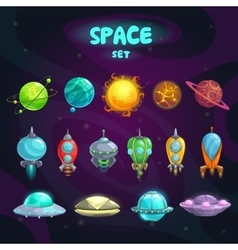 Space cartoon icons set vector