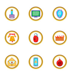 spam icons set cartoon style vector image