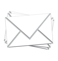 stack white mail isolated vector image
