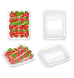 strawberries tray package realistic mockups vector image