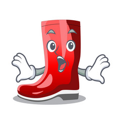 Surprised narcissus with garden boots on character vector