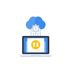 sync with cloud data transfer icon vector image