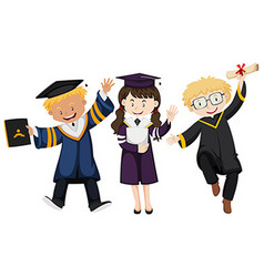 Three people in graduation gown vector
