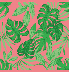 Tropical green leaves living coral background vector