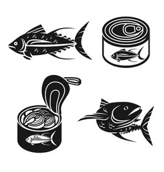 Tuna icons set simple style vector