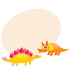 Two cute and funny baby dinosaur characters vector