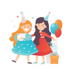 two cute girls celebrating birthday cheerful vector image