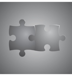 Two Grey Piece Puzzle Round Infographic 2 Step vector image