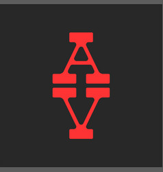 Two letters a and v logo combination creative vector