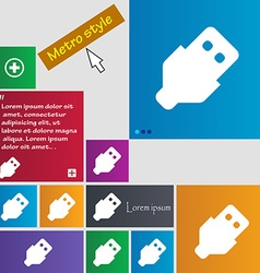 Usb icon sign metro style buttons modern interface vector