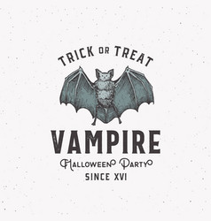 vampire party vintage style halloween logo or vector image