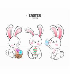 variety easter rabbits set vector image