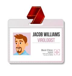 virologist identification badge man id vector image