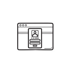 web browser window with login page hand drawn vector image