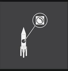 White icon on black background rocket and porthole vector