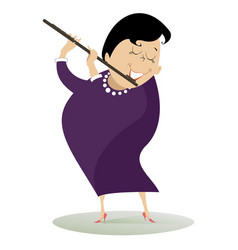 woman plays the flute isolated vector image