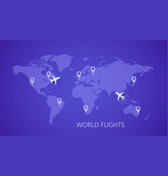 world map with airports and planes vector image