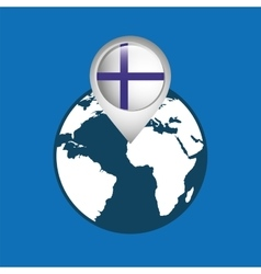 World map with pointer flag finland vector