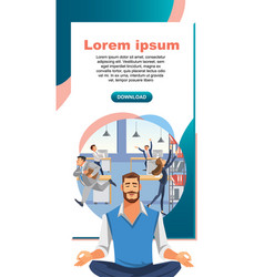Yoga practice in office work web banner vector