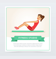 young woman working out on exercise mat fitness vector image