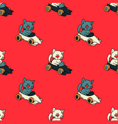 cat driving race car seamless pattern vector image