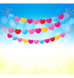 love heart bunting background vector image vector image
