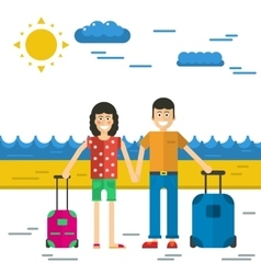 man and woman go to vacation vector image vector image