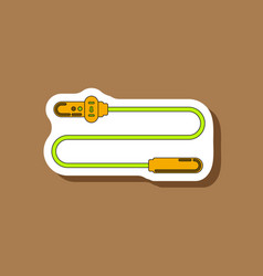 Paper sticker on stylish background jump rope vector