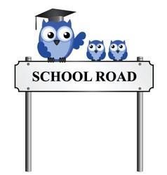 SCHOOL ROAD SIGN vector image vector image