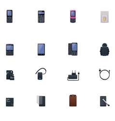cell phones and accessories icon set vector image vector image