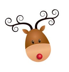 christmas cute reindeer face horns swirl cartoon vector image