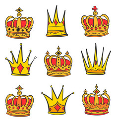 style red crown doodle set vector image