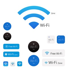 Wi-fi stylish modern logo icons signs and stickers vector image