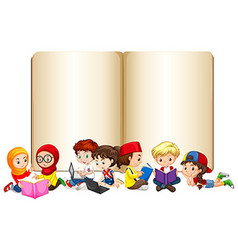 Blank book with children working and reading vector image vector image