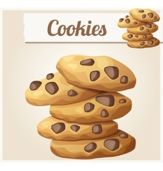 Choc chip cookies 2 Detailed icon vector image vector image