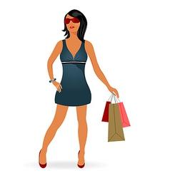 fashion shopping girl with bag vector image