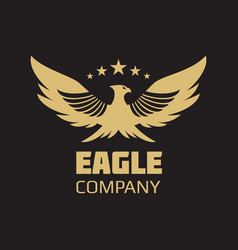 gold heraldic eagle logo design vector image