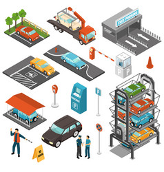 isometric car parking icon set vector image